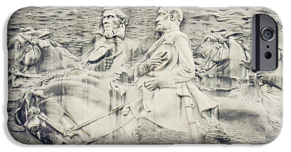 Stone Carving iPhone Cases - Stone Mountain Georgia Confederate Carving iPhone Case by Lisa Russo