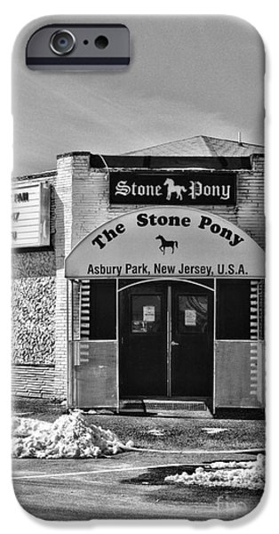 Springsteen iPhone Cases - Stone Pony in Black and White iPhone Case by Paul Ward