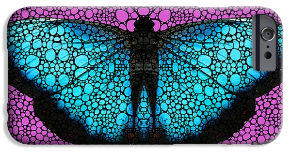 Freedom iPhone Cases - Stone Rockd Butterfly 2 By Sharon Cummings iPhone Case by Sharon Cummings