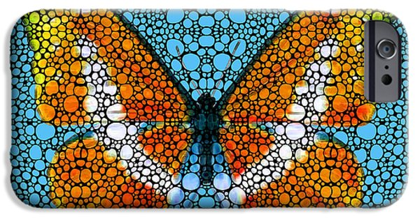 Freedom iPhone Cases - Stone Rockd Butterfly By Sharon Cummings iPhone Case by Sharon Cummings