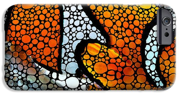 Fish Mixed Media iPhone Cases - Stone Rockd Clown Fish by Sharon Cummings iPhone Case by Sharon Cummings