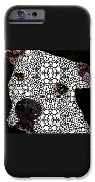 Bulls Mixed Media iPhone Cases - Stone Rockd Dog by Sharon Cummings iPhone Case by Sharon Cummings