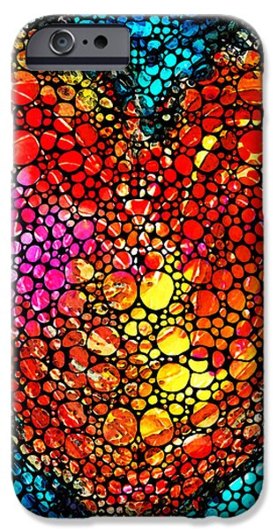 Buying Online Digital Art iPhone Cases - Stone Rockd Heart - Colorful Love From Sharon Cummings iPhone Case by Sharon Cummings