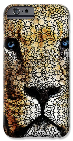 Zoo Animal iPhone Cases - Stone Rockd Lion 2 - Sharon Cummings iPhone Case by Sharon Cummings