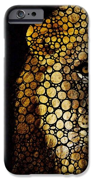 Stone Rock'd Lion - Sharon Cummings iPhone Case by Sharon Cummings