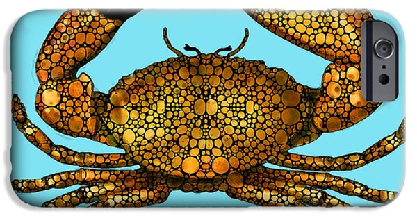 St. Petersburg iPhone Cases - Stone Rockd Stone Crab by Sharon Cummings iPhone Case by Sharon Cummings