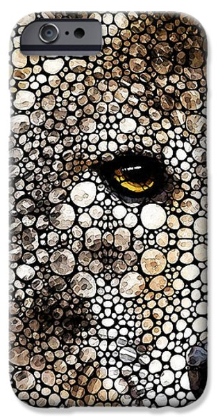 Winter Mixed Media iPhone Cases - Stone Rockd Wolf Art by Sharon Cummings iPhone Case by Sharon Cummings
