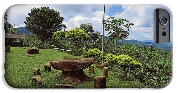 Mountain iPhone Cases - Stone Table With Seats, Flores Island iPhone Case by Panoramic Images