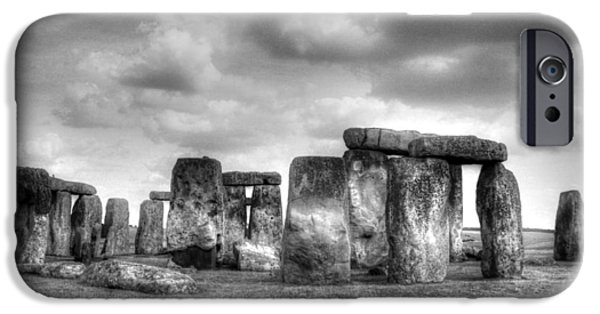 Historic Site iPhone Cases - Stonehenge in Black and White iPhone Case by Greg Mimbs