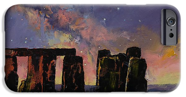 Galaxy Paintings iPhone Cases - Stonehenge iPhone Case by Michael Creese
