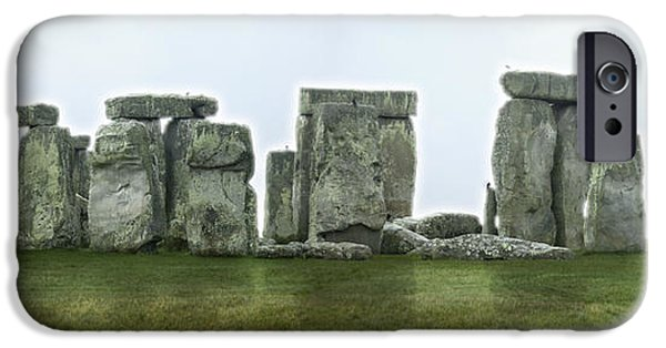 Historic England iPhone Cases - STONEHENGE Panoramic - England iPhone Case by Mike McGlothlen