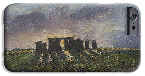 Historic Site Pastels iPhone Cases - Stonehenge iPhone Case by Sammy Hancock Cundiff