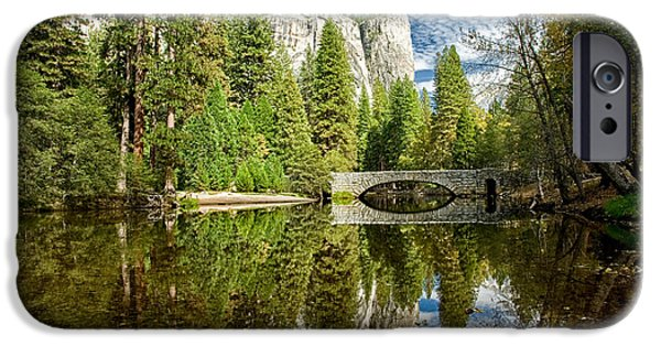 River iPhone Cases - Stoneman Bridge Reflections iPhone Case by Cat Connor
