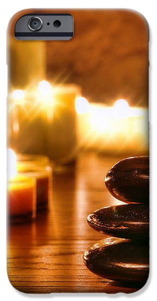 Stones Cairn and Candles iPhone Case by Olivier Le Queinec