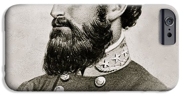 Hair Drawings iPhone Cases - Stonewall Jackson Confederate General Portrait iPhone Case by Anonymous