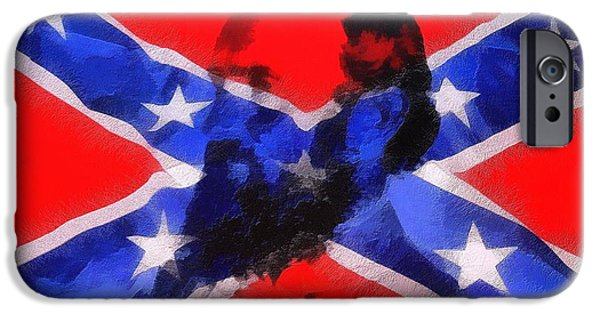 Confederate Flag iPhone Cases - Stonewall Jackson On Confederate Flag iPhone Case by Dan Sproul