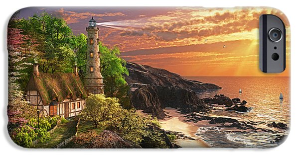 Lighthouse iPhone Cases - Stoney Cove Lighthouse iPhone Case by Dominic Davison