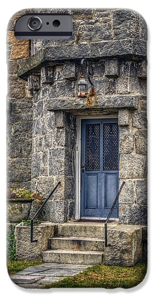 New England Lighthouse iPhone Cases - Stonington Lighthouse Door iPhone Case by Joan Carroll