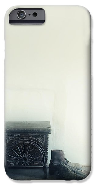 Furniture iPhone Cases - Stool And Shoes iPhone Case by Joana Kruse