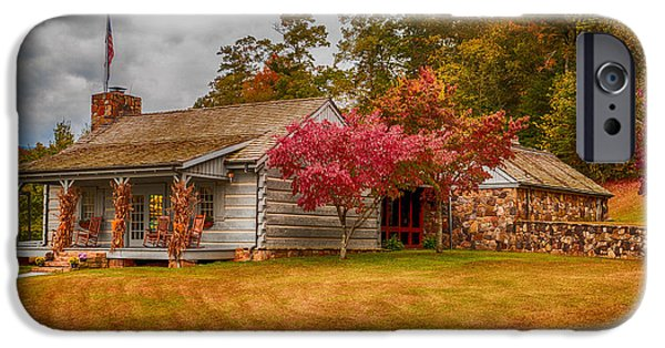 Log Cabin Digital iPhone Cases - Stop and Rest Awhile iPhone Case by Mary Timman