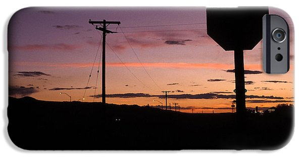 Asphalt iPhone Cases - Stop for Sunset iPhone Case by Elena Bouvier