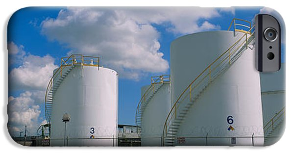 Fuel And Power Generation iPhone Cases - Storage Tanks In A Factory, Miami iPhone Case by Panoramic Images