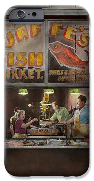 Night Lamp iPhone Cases - Store - Fish NY - Jaffes Fish Market iPhone Case by Mike Savad