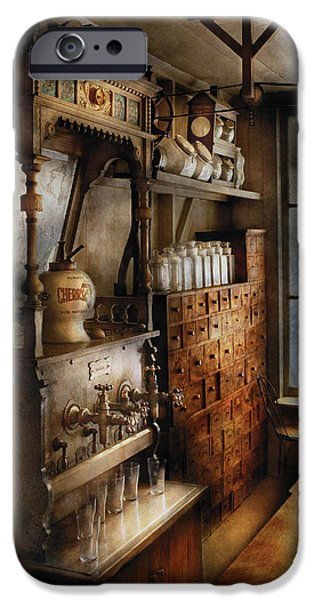 Store - Turn of the century soda fountain iPhone Case by Mike Savad