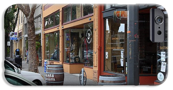 States iPhone Cases - Storefronts In Historic Railroad Square Santa Rosa California 5D25804 iPhone Case by Wingsdomain Art and Photography