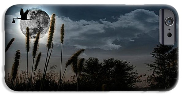 Anticipation Photographs iPhone Cases - Stork With A Baby Flying Over Moon iPhone Case by Panoramic Images