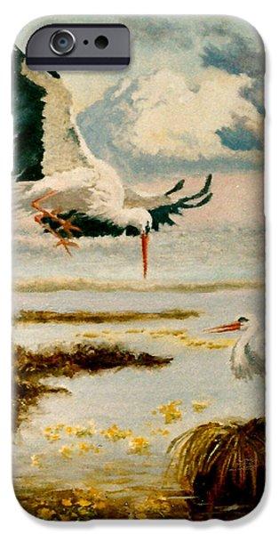 Storks II iPhone Case by Henryk Gorecki