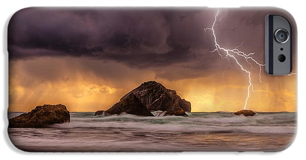 Sunset Framed Prints iPhone Cases - Storm At Face Rock iPhone Case by Darren  White