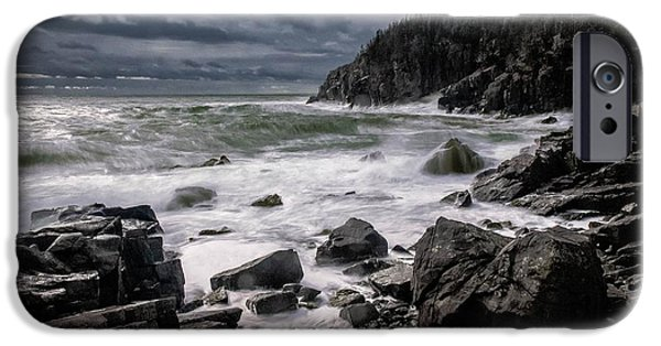 Quoddy iPhone Cases - Storm at Gullivers Hole iPhone Case by Marty Saccone