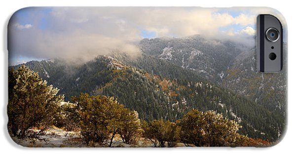 Fall Season iPhone Cases - Storm Atop Oquirrhs iPhone Case by Chad Dutson