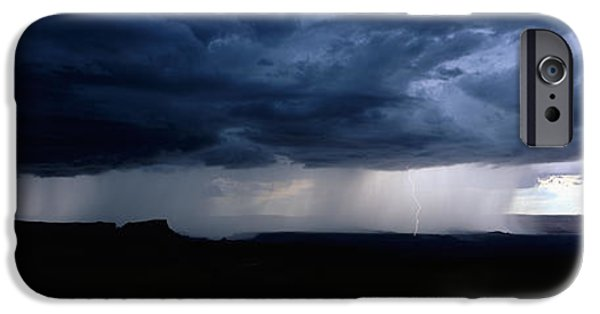 Lightning Bolts iPhone Cases - Storm, Canyonlands National Park, Utah iPhone Case by Panoramic Images
