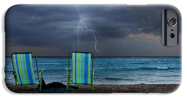 Empty Chairs iPhone Cases - Storm Chairs iPhone Case by Laura  Fasulo