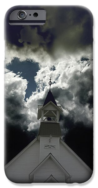 Nineteenth Digital iPhone Cases - Storm Clouds at Prairie Chapel  iPhone Case by Ann Powell