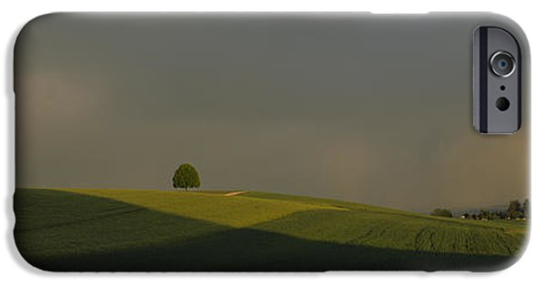 Horizon Over Land iPhone Cases - Storm Clouds Over A Field, Canton Of iPhone Case by Panoramic Images