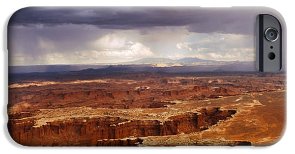 Storm iPhone Cases - Storm Clouds Over Canyonlands National iPhone Case by Panoramic Images
