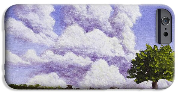 Maine Landscapes Paintings iPhone Cases - Storm Clouds Over Maine Blueberry Field iPhone Case by Keith Webber Jr