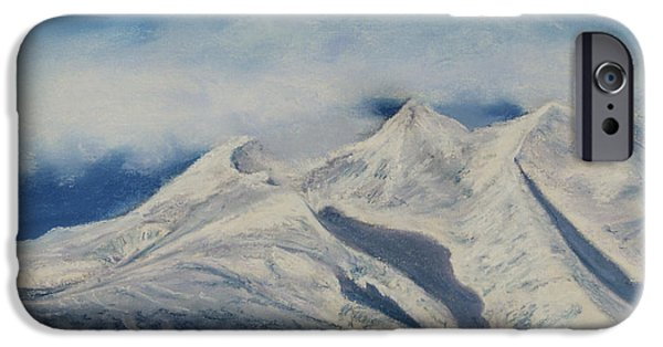 Clouds Pastels iPhone Cases - Storm Clouds Over Winter Mountain Blues iPhone Case by Stanza Widen