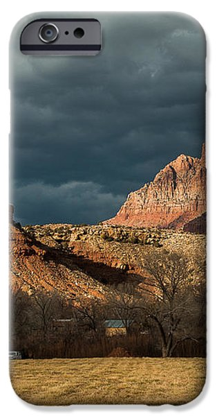 Storm Clouds Rising over Mount Kinesava Zion Park Rockville Utah iPhone Case by Robert Ford