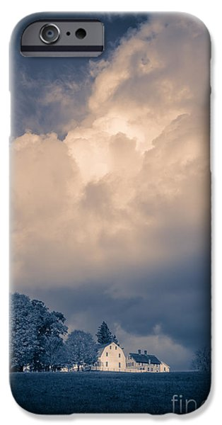 Agricultural iPhone Cases - Storm coming to the old farm iPhone Case by Edward Fielding