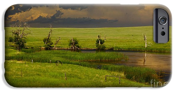 Barns iPhone Cases - Storm Crossing Prairie 1 iPhone Case by Robert Frederick
