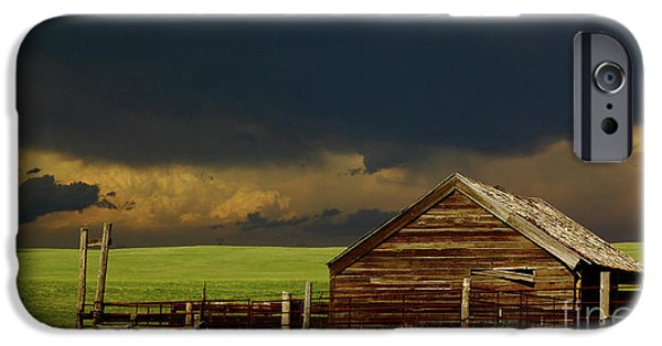 Barns iPhone Cases - Storm Crossing Prairie 2 iPhone Case by Robert Frederick