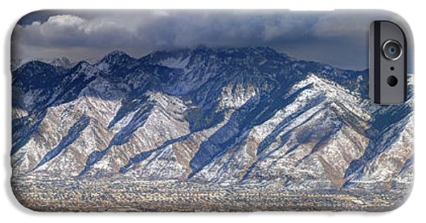 Winter Storm iPhone Cases - Storm Front Passes over the Wasatch Mountains and Salt Lake Valley - Utah iPhone Case by Gary Whitton