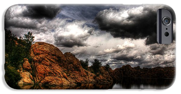 Watson Lake iPhone Cases - Storm in the Dells iPhone Case by Wayne King