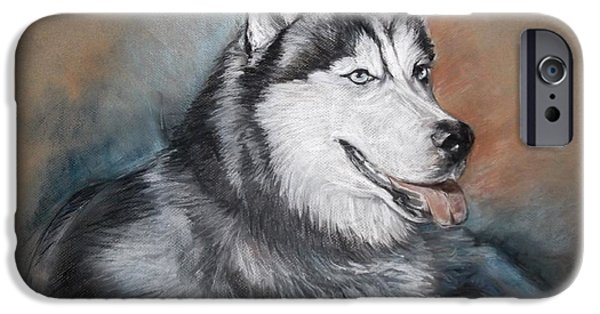 Husky Drawings iPhone Cases - Storm iPhone Case by Jennifer Christenson