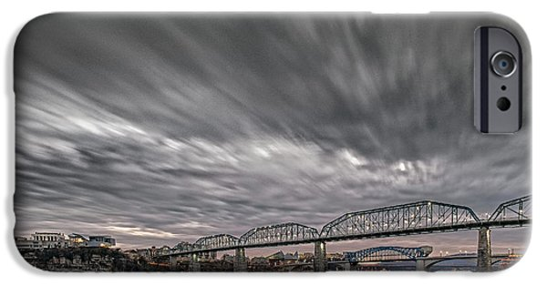 Tennessee River iPhone Cases - Storm Moving In over Chattanooga iPhone Case by Steven Llorca