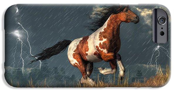 Horse Racing Digital iPhone Cases - Storm Mustang iPhone Case by Daniel Eskridge